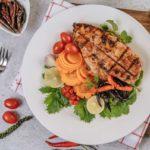 prato de comida refeição balanceada frango