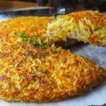 Receita de batata rosti com batata doce e recheio de frango